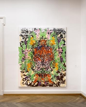 Grotesk, 2004, Mixed Media auf Leinwand, 240x190cm, Courtesy Sammlung Steinrich Sultier.Foto: David Aebi