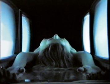 Monitor Love, 1989/2007, Symbioscreen, Videoprojektion, 4:3, auf gedrucktem Videostill, Video, Farbe, ohne Ton, 4'50'' ©ProLitteris