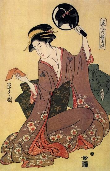 Tomimoto Toyohin · Die Geisha, aus der Serie ‹Sammlung von Gesichtern schöner Frauen›, Edo-Zeit, 1792–1795, Holzdruck, 38x25,5cm, Museum Rietberg Zürich