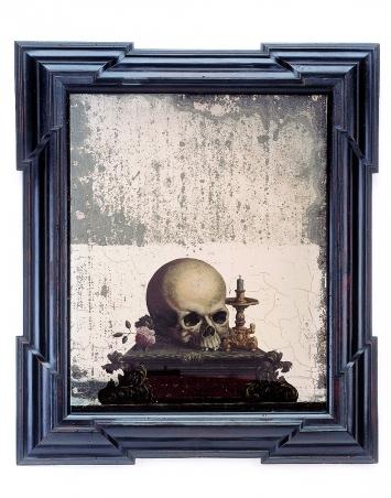 Memento-Mori-Totenschädel, 1750–1800, Schweiz, Kanton Aargau, Spiegel, Hinterglasbild, 56x47,5cm, Schweizerisches Nationalmuseum/Landesmuseum Zürich