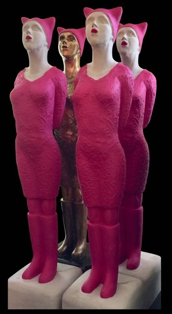 """""""Pussyhats"""" Skulptur von Annemarie Waibel. Weitere Skulpturen unter www.skulpturen-annemarie-waibel.ch"""