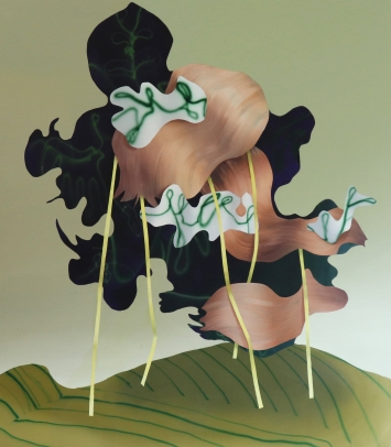 Judith Grassl, Gifts (rest in trees), acrylic on canvas, 170x150cm, 2020
