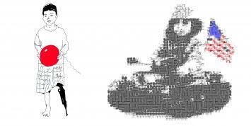 Kind mit dem Banksy Balon,und Jugete de guerra, Daniel Garbade,