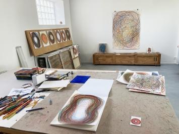 Gilgian Gelzer, Atelieransicht, Paris-Malakoff, 2020