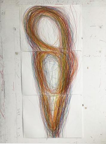 Gilgian Gelzer, inside-out, Farbstift auf Papier, 2020