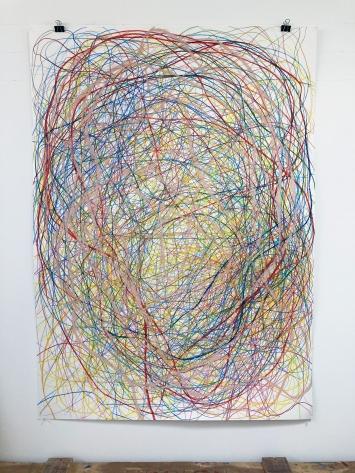 Gilgian Gelzer, inside-out, Farbstift und Ölpastell auf Papier, 2020
