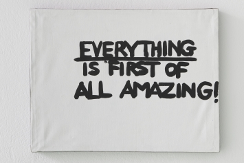 Gene Beery,‹Everything is First of all Amazing!›, ca. 1990, Acryl auf Leinwand, 50.8 x 67.3 cm. Courtesy of the artist and Greenspon, New York. Foto: Guillaume Baeriswyl