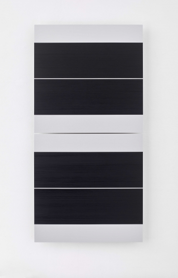 Frank Gerritz(*1964 Hamburg, lebt in Hamburg) Four Center Split Screen, 2016-2017Ölwachsstift auf eloxiertem Aluminium, 2teiligje 60 x 60 cm