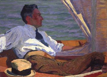 Giovanni Giacometti, Bildnis Richard Bühler im Segelboot, 1911Privatbesitz
