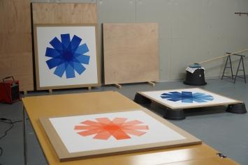 FabriceGygi,‹Ohne Titel›, Wasserfarbe auf Papier, je 175 x 130 cm (Atelieransicht).Foto: Der Künstler