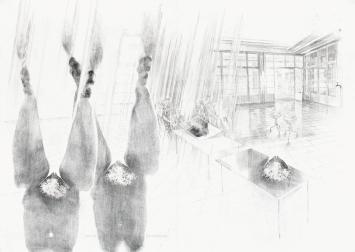 Sandra Boeschenstein · Institut für Geophysik, 2019, aus dem Zyklus: sich Reinknien als Kulturgut, Ölkreide, Ölfarbe und Tusche auf Papier, 100x140cm, Galerie & Edition Marlene Frei, Zürich.Foto: Eric Tschernow