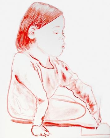 Hans Witschi (Copyright) · Verletztes Mädchen, zeichnend (12), 2019, (1468), Öl auf grundierter Baumwolle, 50,8x40,64cm