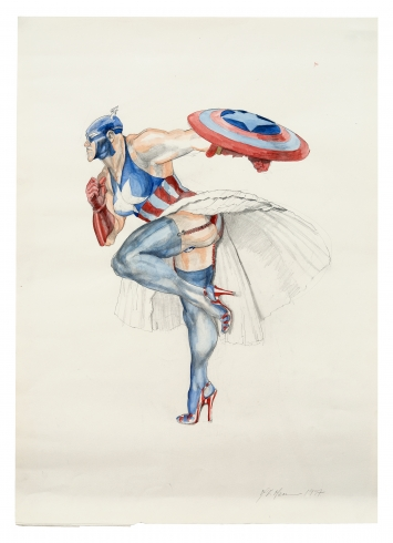 Margaret HarrisonCaptain America (II), 1997Drawing (pencil) and watercolour71 x 51 cm  Foto © Serge Hasenböhlercourtesy nicolaskrupp.com