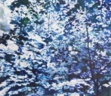 Blau-weisses Bild (Nr. 4101): o.T., Acryl auf Baumwolle, 2019, 70x80cm, von Helen Grossmann