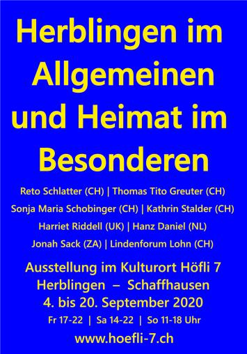 Ausstellung Kulturort Höfli 7 Herblingen-Schaffhausen, 4. bis 20. September 2020