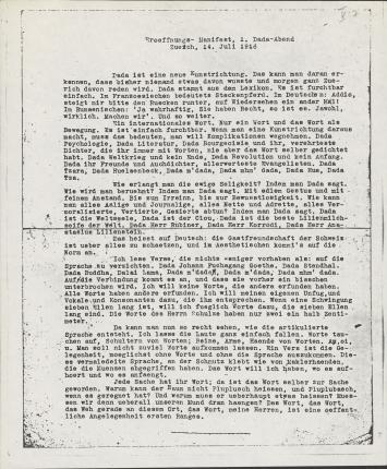 Hugo Ball·Eröffnungs-Manifest, 1. Dada-Abend, Zürich, 14. Juli 1916, 1916, Fotokopie des Typoskripts von Hugo Ball, anlässlich des 1. Dada-Abends im Zunfthaus zur Waag, Zürich,23,4 x 19 cm