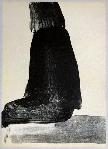Silvia Bächli · Ohne Titel, Sitzende Frau, 2003, Lithografie, 53,5x39cm, Courtesy KWSSammlung ©ProLitteris