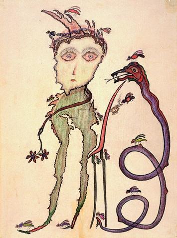 Heinrich Anton Müller · o.T., zwischen 1925 und 1927, Farbstift auf Papier, 57,5x42,5cm, Coll. de l'Art Brut, Lausanne.Foto: Claude Bornand