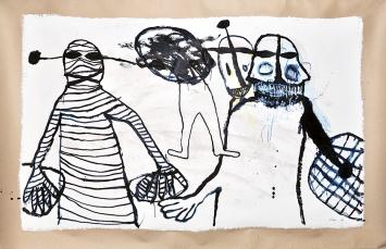 Hans Schärer · Ohne Titel, 1984, Öl und Acryl auf Papier, 150x230cm ©ProLitteris