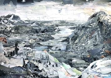 Hendrikje Kühne / Beat Klein · Am Stausee, 2018, 70x100cm, Collage aus S/W Ansichtspostkarten