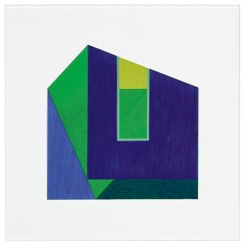 Marguerite Hersberger · houses # 130, 2020, 60x60cm, Acryl, Transparentfolie.Foto: Peter Schälchli