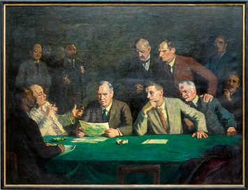Jean Jacques Lüscher · Die Kunstkreditkommission, 1930, Öl auf Leinwand, 186 x 246 cm