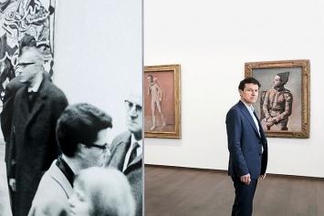 Direktor Josef Helfenstein zwischen einer Fotografie von Kurt Wyss und den Picasso-Bildern ‹Zwei Brüder› und ‹Sitzender Harlekin› © ProLitteris.Foto: Julian Salinas