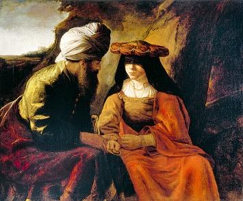 Rembrandt Harmensz van Rijn · Juda und Tamar, um 1650/1700, Öl auf Leinwand, 108,5x130cm, Residenzgalerie Salzburg