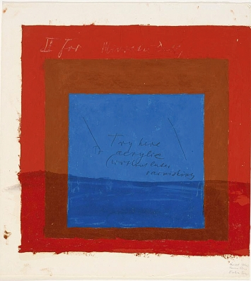 Josef Albers · Color Study for: Homage to the Square, undatiert, Öl und Bleistift auf Zeichenfolie, 33,5 x 30,6 cm, The Josef and Anni Albers Foundation @ ProLitteris