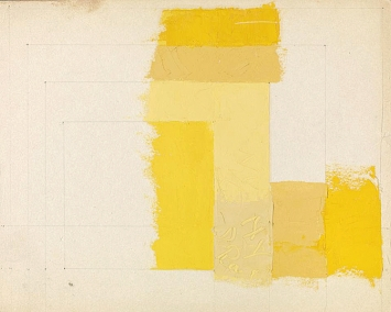 Josef Albers · Color Study for: Homage to the Square, undatiert, Öl und Bleistift auf Zeichenfolie, 29,5 x 23,7 cm, The Josef and Anni Albers Foundation © ProLitteris