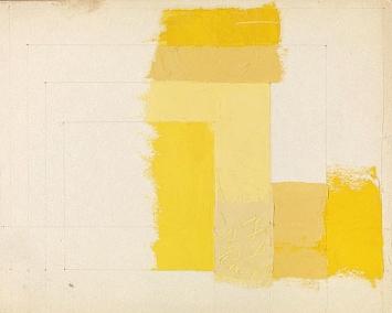Josef Albers · Color Study for: Homage to the Square, undatiert, Öl und Bleistift auf Zeichenfolie, 29,5x23,7 cm, The Josef and Anni Albers Foundation ©ProLitteris