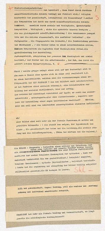Carl Einstein · Thesen zum ‹Handbuch der Kunst›, 1930er-Jahre, Fahne mit aufgeklebten Bruchstücken, Akademie der Künste, Berlin, Carl-Einstein-Archiv, Nr. 244_007 ©Akademie der Künste, Berlin