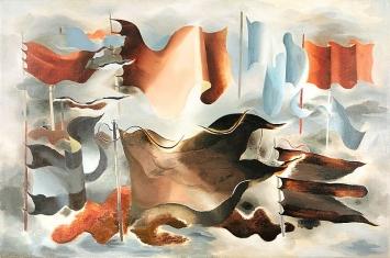 Paule Vézelay · Drapeaux d'Hiver, 1930, Öl auf Leinwand, 96,5x146cm. ©Estate of P. Vézelay