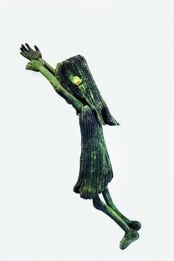 Aurélie Jossen · Dans le bois, 2018, Holz, Tusche, 135x60x30cm