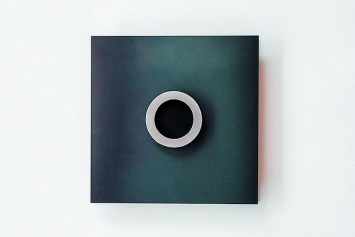 Bernhard Licini · Wandobjekt, 2019, Schwarzer Stahl, 21x21x2,1cm