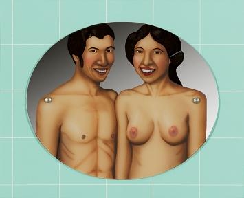 Margrit Jäggli · Ehepaar im Badezimmer, 1969, Acryl hinter Spiegelglas, Kelco-Platten, 66x80,5cm.Foto: Dominique Uldry