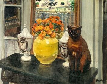 Martha Stettler · Stillleben mit Katze, zw. 1907 und 1916, Öl auf Leinwand, Kunstmuseum Bern