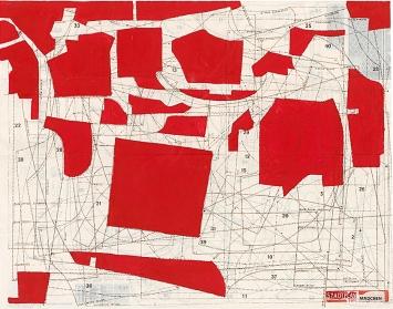 Nanne Meyer· Stadtplan für Mädchen, 1997, Dispersion, Farbstift und Gouache auf Schnittmusterbogen, 52,5x67cm.Foto: Farbanalyse