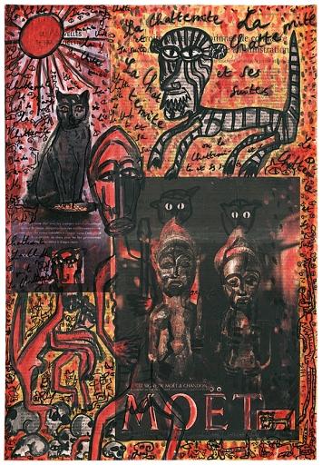 Jacques Chessex · La Chattemite et ses suites, 2002, Tusche, Deckfarbe und Collage aufZeitungspapier, 47x32cm ©ProLitteris.Foto: Agence du Lion d'Or, Perroy