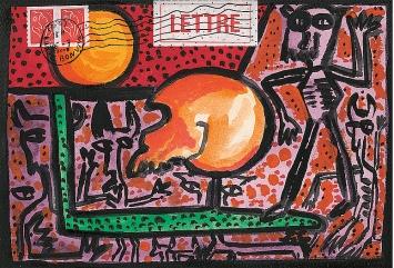 Jacques Chessex · Lettre au crâne, Deckfarbe, Acrylfarbe, Collage auf Packpapier, 18x26cm ©ProLitteris.Foto: Agence du Lion d'Or, Perroy
