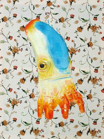 Tom Fellner · Kleiner Krake, 2015, Tempera und Öl auf bedrucktem Stoff
