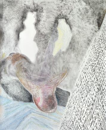 Bettina Carl · Nerz, 2020, aus der Werkgruppe, ‹Einsilbige Tiere›, Pastellkreide und Kohle auf Papier, 150x122cm ©ProLitteris