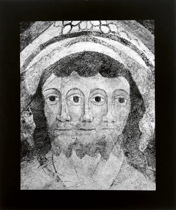 Oberitalienische Malerwerkstatt, Darstellung der Dreifaltigkeit, um 1500, Deckenmalerei Lavin, evangelische Kirche.Foto: Florio Puenter