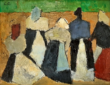 Carl Roesch · Komposition (fünf Frauen in Rückenansicht), Öl auf Hartfaserplatte, Sammlung Museum kunst + wissen, Diessenhofen