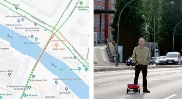 Simon Weckert · Google Maps Hack, 2020, Screenshots