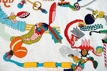 Ficht Tanner · ohne Titel, 2005–2006, Stickerei auf Stoff, Detail.Foto: Heinz Erismann