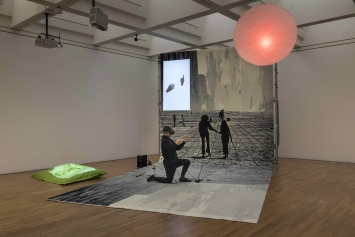 Florian Meisenberg, Pre-alpha courtyard games, 2017, Ausstellungsansicht
