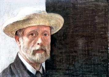 Barthélemy Menn · Selbstporträt mit Strohhut, gegen 1867, Öl auf Karton, aufgezogen auf Holz, 42,6x60,1cm ©MAH, Genf, Schenkung Marcel Guinand.Foto: J.-M. Yersin