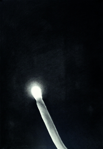 Luo Mingjun · Gratter la nuit, 2018, Kohlezeichnung, 100x70cm