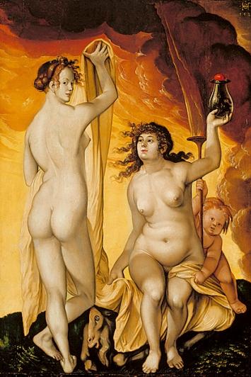 Hans Baldung Grien · Zwei Hexen, 1523, Mischtechnik auf Holz, 65,3x45,6cm, Städel